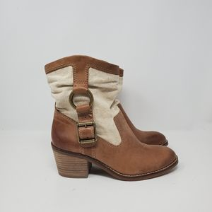 NEW LUCKY BRAND LEATHER BOOTIE Linen, beautiful bo